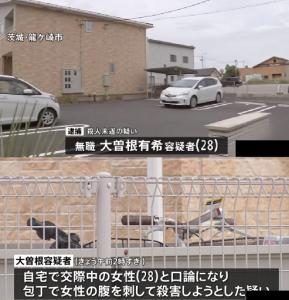 2021年5月17日発生|大曽根有希[28]|茨城県龍ケ崎市|殺人未遂の疑い|容疑者逮捕|交際中の女性と食事中に口論になり腹などを刺す